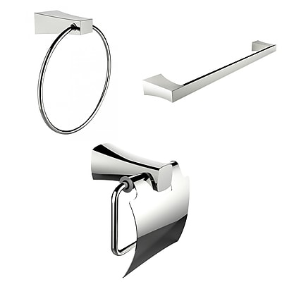 American Imaginations Modern Towel Ring, Single Rod Towel Rack and Toilet Paper Holder Accessory Set (AI-13929)