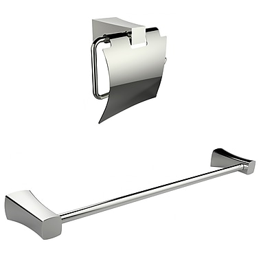 American Imaginations Chrome Plated Toilet Paper Holder With Single Rod Towel Rack Accessory Set (AI-13327)