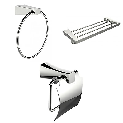 American Imaginations Chrome Towel Ring, Multi-Rod Towel Rack and Toilet Paper Holder Accessory Set (AI-13930)