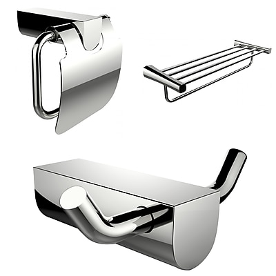 American Imaginations Modern Multi-Rod Towel Rack, Toilet Paper Holder and Robe Hook Accessory Set (AI-13660)