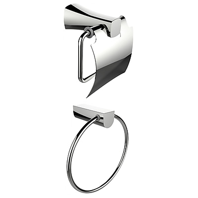 American Imaginations Chrome Plated Towel Ring With Toilet Paper Holder Accessory Set (AI-13315)