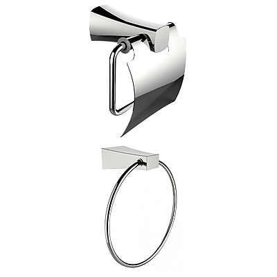 American Imaginations Chrome Plated Towel Ring With Toilet Paper Holder Accessory Set (AI-13314)