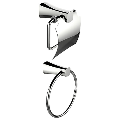 American Imaginations Chrome Plated Towel Ring With Toilet Paper Holder Accessory Set (AI-13313)