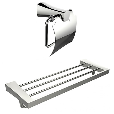 American Imaginations Multi-Rod Towel Rack With A Chrome Plated Toilet Paper Holder Accessory Set (AI-13319)