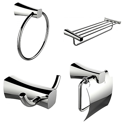 American Imaginations Multi-Rod Towel Rack With Towel Ring, Robe Hook and Toilet Paper Holder Accessory Set (AI-13976)