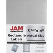 JAM Paper® Mailing Address Labels, 3 1/3 x 4, Silver Metallic, 120/pack (336731903)