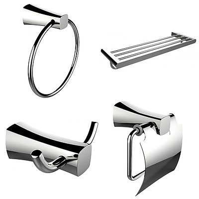 American Imaginations Multi-Rod Towel Rack With Towel Ring, Robe Hook and Toilet Paper Holder Accessory Set (AI-13980)