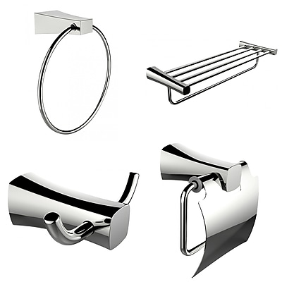 American Imaginations Multi-Rod Towel Rack With Towel Ring, Robe Hook and Toilet Paper Holder Accessory Set (AI-13983)