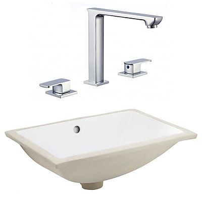 """American Imaginations 20.75""""W CSA Rectangle Undermount Sink Set in White - Chrome Hardware With CUPC Faucet (AI-23112)"""