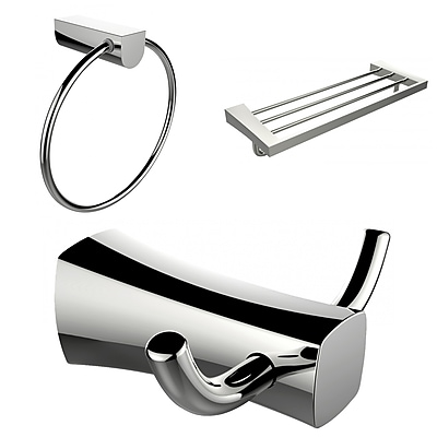 American Imaginations Chrome Plated Towel Ring, Double Robe Hook and A Multi-Rod Towel Rack Accessory Set (AI-13461)