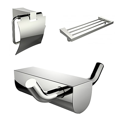 American Imaginations Modern Multi-Rod Towel Rack, Toilet Paper Holder and Robe Hook Accessory Set (AI-13653)