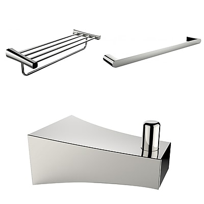 American Imaginations Chrome Plated Robe Hook, Multi-Rod Towel Rack, and A Single Towel Rod Accessory Set (AI-13549)