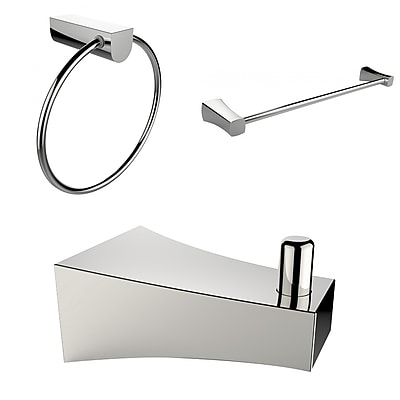 American Imaginations Chrome Plated Robe Hook, Towel Ring, and A Single Rod Towel Rack Accessory Set (AI-13536)