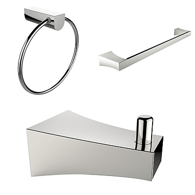 American Imaginations Chrome Plated Robe Hook, Towel Ring, and A Single Rod Towel Rack Accessory Set (AI-13538)