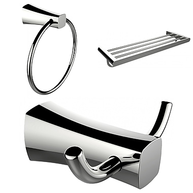 American Imaginations Chrome Plated Towel Ring, Double Robe Hook and A Multi-Rod Towel Rack Accessory Set (AI-13450)