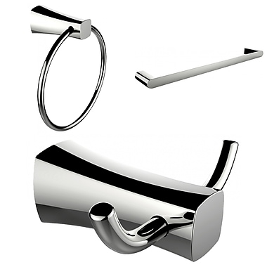 American Imaginations Chrome Plated Towel Ring, Double Robe Hook and Single Rod Towel Rack Accessory Set (AI-13449)