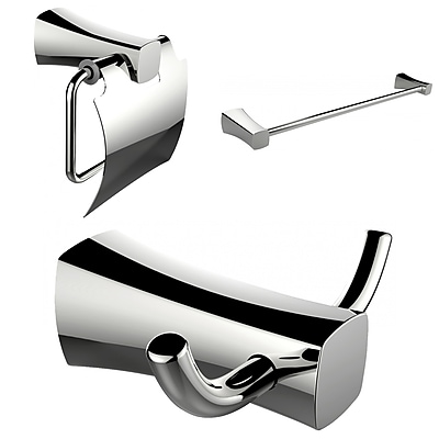 American Imaginations Robe Hook, Toilet Paper Holder and Single Rod Towel Rack Accessory Set (AI-13418)