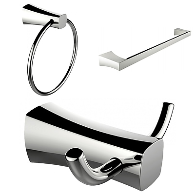 American Imaginations Chrome Plated Towel Ring, Double Robe Hook and Single Rod Towel Rack Accessory Set (AI-13447)