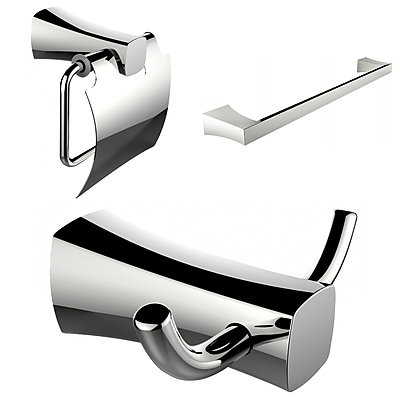 American Imaginations Robe Hook, Toilet Paper Holder and Single Rod Towel Rack Accessory Set (AI-13420)
