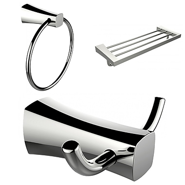 American Imaginations Chrome Plated Towel Ring, Double Robe Hook and A Multi-Rod Towel Rack Accessory Set (AI-13448)