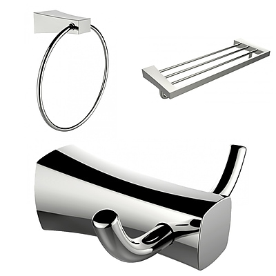 American Imaginations Chrome Plated Towel Ring, Double Robe Hook and A Multi-Rod Towel Rack Accessory Set (AI-13455)