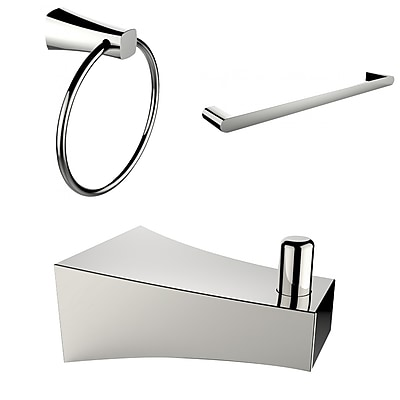 American Imaginations Chrome Plated Robe Hook, Towel Ring, and A Single Rod Towel Rack Accessory Set (AI-13527)