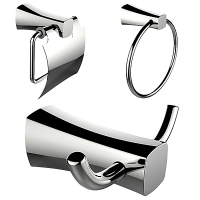 American Imaginations Towel Ring, Toilet Paper Holder and Robe Hook Accessory Set (AI-13415)