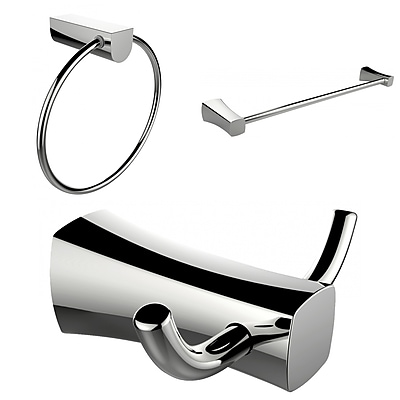 American Imaginations Chrome Plated Towel Ring, Double Robe Hook and Single Rod Towel Rack Accessory Set (AI-13458)