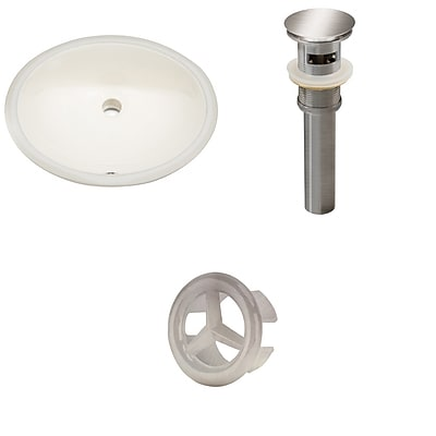 """""""""""American Imaginations 19.75""""""""""""""""W Oval Undermount Sink Set in Biscuit - Brushed Nickel Hardware (AI-20552)"""""""""""" 24263184"""