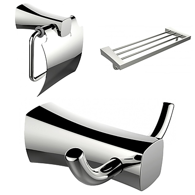 American Imaginations Robe Hook, Toilet Paper Holder and Multi-Rod Towel Rack Accessory Set (AI-13421)