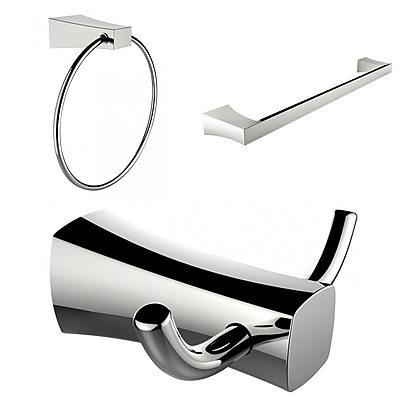 American Imaginations Chrome Plated Towel Ring, Double Robe Hook and Single Rod Towel Rack Accessory Set (AI-13454)