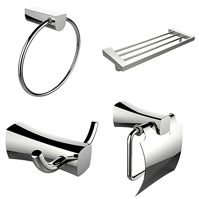 American Imaginations Multi-Rod Towel Rack With Towel Ring, Robe Hook and Toilet Paper Holder Accessory Set (AI-13991)
