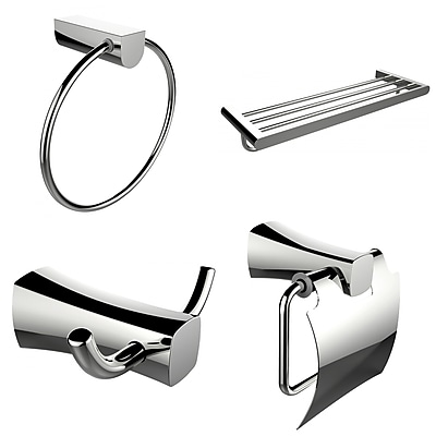 American Imaginations Multi-Rod Towel Rack With Towel Ring, Robe Hook and Toilet Paper Holder Accessory Set (AI-13993)