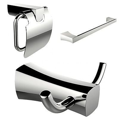 American Imaginations Robe Hook, Single Rod Towel Rack and Toilet Paper Holder Accessory Set (AI-13439)