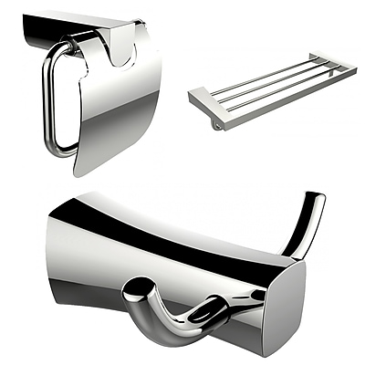 American Imaginations Robe Hook, Multi-Rod Towel Rack and Toilet Paper Holder Accessory Set (AI-13440)