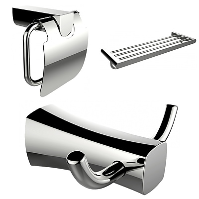 American Imaginations Robe Hook, Multi-Rod Towel Rack and Toilet Paper Holder Accessory Set (AI-13442)