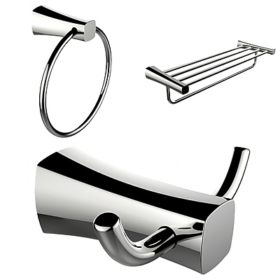 American Imaginations Chrome Plated Towel Ring, Double Robe Hook and A Multi-Rod Towel Rack Accessory Set (AI-13446)