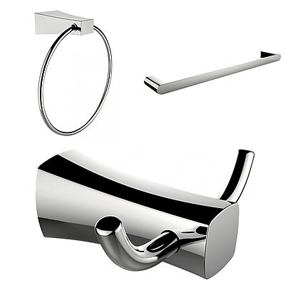 American Imaginations Chrome Plated Towel Ring, Double Robe Hook and Single Rod Towel Rack Accessory Set (AI-13456)