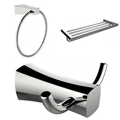 American Imaginations Chrome Plated Towel Ring, Double Robe Hook and A Multi-Rod Towel Rack Accessory Set (AI-13457)