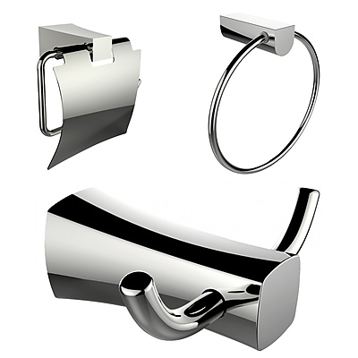 American Imaginations Robe Hook, Toilet Paper Holder and Towel Ring Accessory Set (AI-13427)