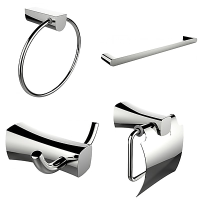 American Imaginations Single Rod Towel Rack, Robe Hook, Towel Ring and Toilet Paper Holder Accessory Set (AI-13992)