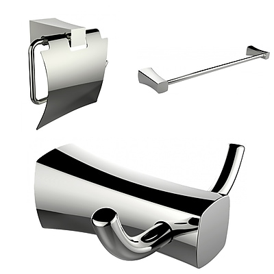 American Imaginations Single Rod Towel Rack, Robe Hook and Toilet Paper Holder Accessory Set (AI-13428)