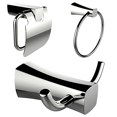 American Imaginations Robe Hook, Toilet Paper Holder and Towel Ring Accessory Set (AI-13434)