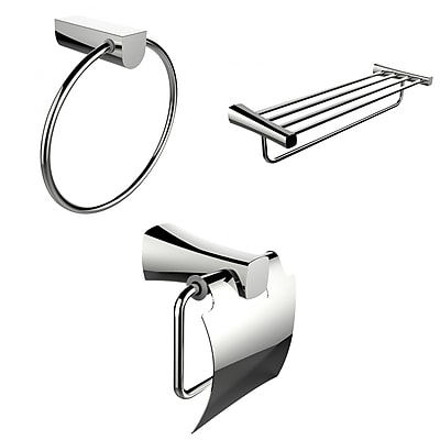 American Imaginations Chrome Towel Ring, Multi-Rod Towel Rack and Toilet Paper Holder Accessory Set (AI-13934)