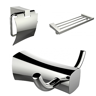 American Imaginations Multi-Rod Towel Rack, Robe Hook, and Toilet Paper Holder Accessory Set (AI-13431)