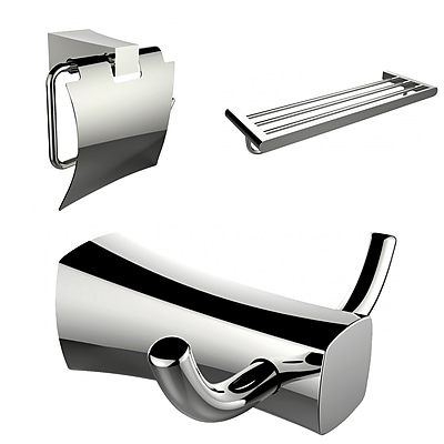 American Imaginations Multi-Rod Towel Rack, Robe Hook, and Toilet Paper Holder Accessory Set (AI-13433)