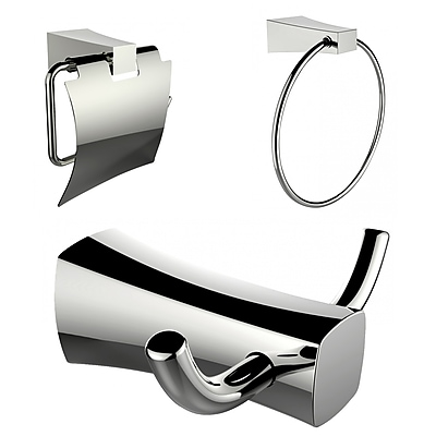 American Imaginations Toilet Paper Holder, Towel Ring and Robe Hook Accessory Set (AI-13426)