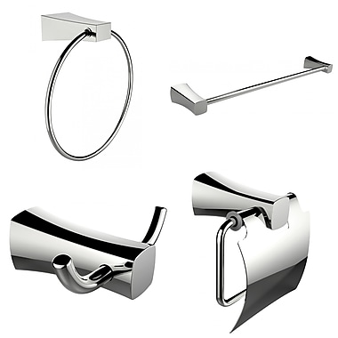 American Imaginations Single Rod Towel Rack, Robe Hook, Towel Ring and Toilet Paper Holder Accessory Set (AI-13982)