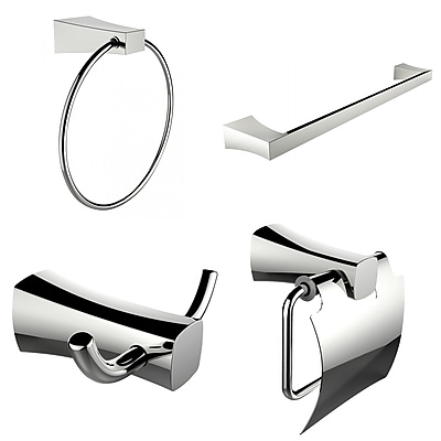 American Imaginations Single Rod Towel Rack, Robe Hook, Towel Ring and Toilet Paper Holder Accessory Set (AI-13984)