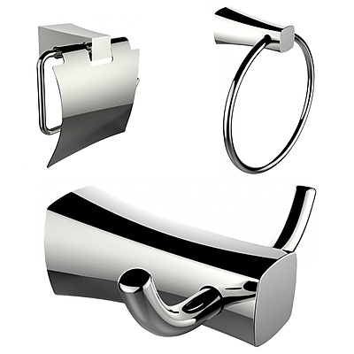 American Imaginations Toilet Paper Holder, Towel Ring and Robe Hook Accessory Set (AI-13425)